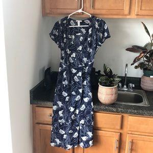 Dark blue floral wrap dress
